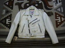 NOS VTG Youth Kids Motorcycle Biker Rider Leather Jacket White 8 Made In USA K96