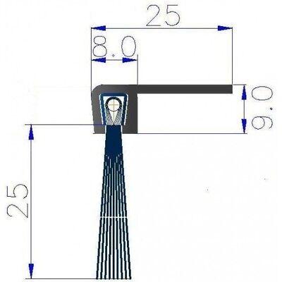 1 m Streifenbürste 90° Winkel 50 mm Bürstendichtung Türbürste Torbürste Türbesen