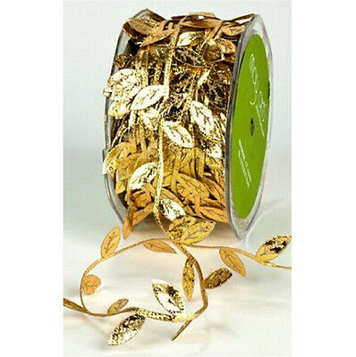 10m Fabric Leaf Ribbon for Sewing Craft Party Wedding Decoration 20mm Gold