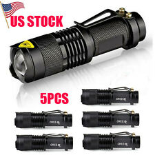 5PCS Mini CREE Q5 LED Torch Adjustable Focus Zoom Light Lamp Flashlight US Stock