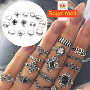 15pcs Silver Bohemian Stack Plain Above Knuckle Ring Midi Finger Tip Rings Gift