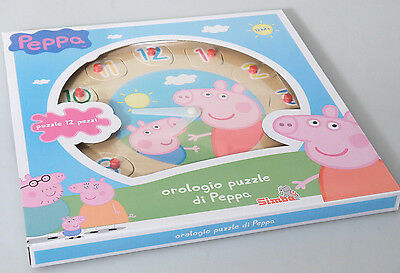 Marchio Popolare (prl) Peppa Pig Orologio Puzzle Legno 12 Pz Toys Wood Clock Jeu Bois Number New Acquista One Give One