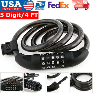 Cycling-Security-5-Digit-Combination-Bike-Bicycle-Cable-4-FT-Bike-Chain-Lock