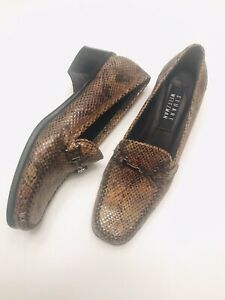 Stuart-Weitzman-Brown-Snakeskin-Leather-Loafers-Size-8-5