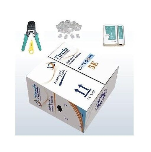 1000' Ft CAT5E 24 AWG UTP Solid LAN Cable Network Tool Kit-Tester+Crimper+Rj45