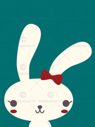 RABBIT BUNNY ILLUSTRATION BOW KIDS CARTOON PHOTO ART PRINT POSTER BMP1980B