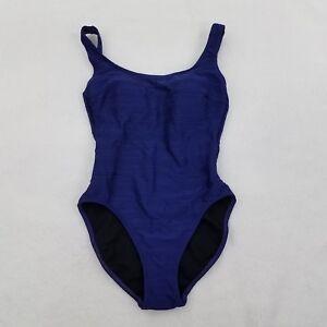 7d822d9c4d Gottex Swimsuit 8 One Piece Purple Ribbed Striped Modest Hi High Cut ...