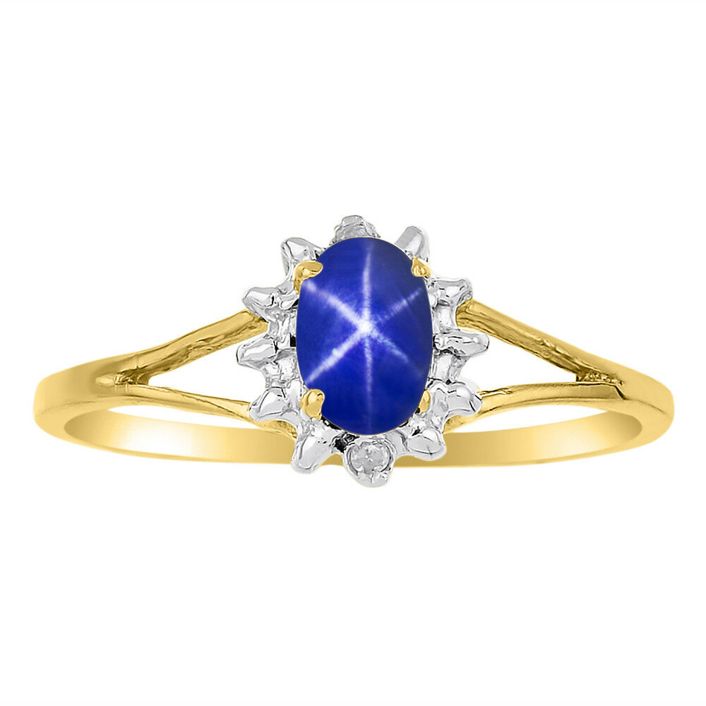 bluee Star Sapphire Ring in 14K Yellow gold or 14K White gold LRLSY