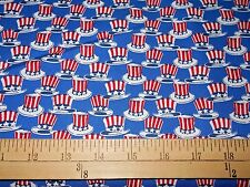 "1 yard  Windham Honor & Glory ""Red,White & Blue Hats""  Royal Patriotic Fabric"