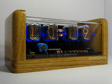 4xIN-12 Nixie Tubes Clock oak case alarm & led backlight steampunk vintage retro