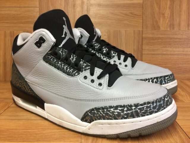 wholesale dealer 5c1c4 64fbd RARE🔥 Nike Air Jordan 3 III Retro Wolf Gray Silver Black White Sz 13  136064-004