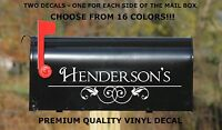 Custom Personalized Vinyl Mailbox Decal 3 - Set Of 2 - 16 Color Choices 4x14.5