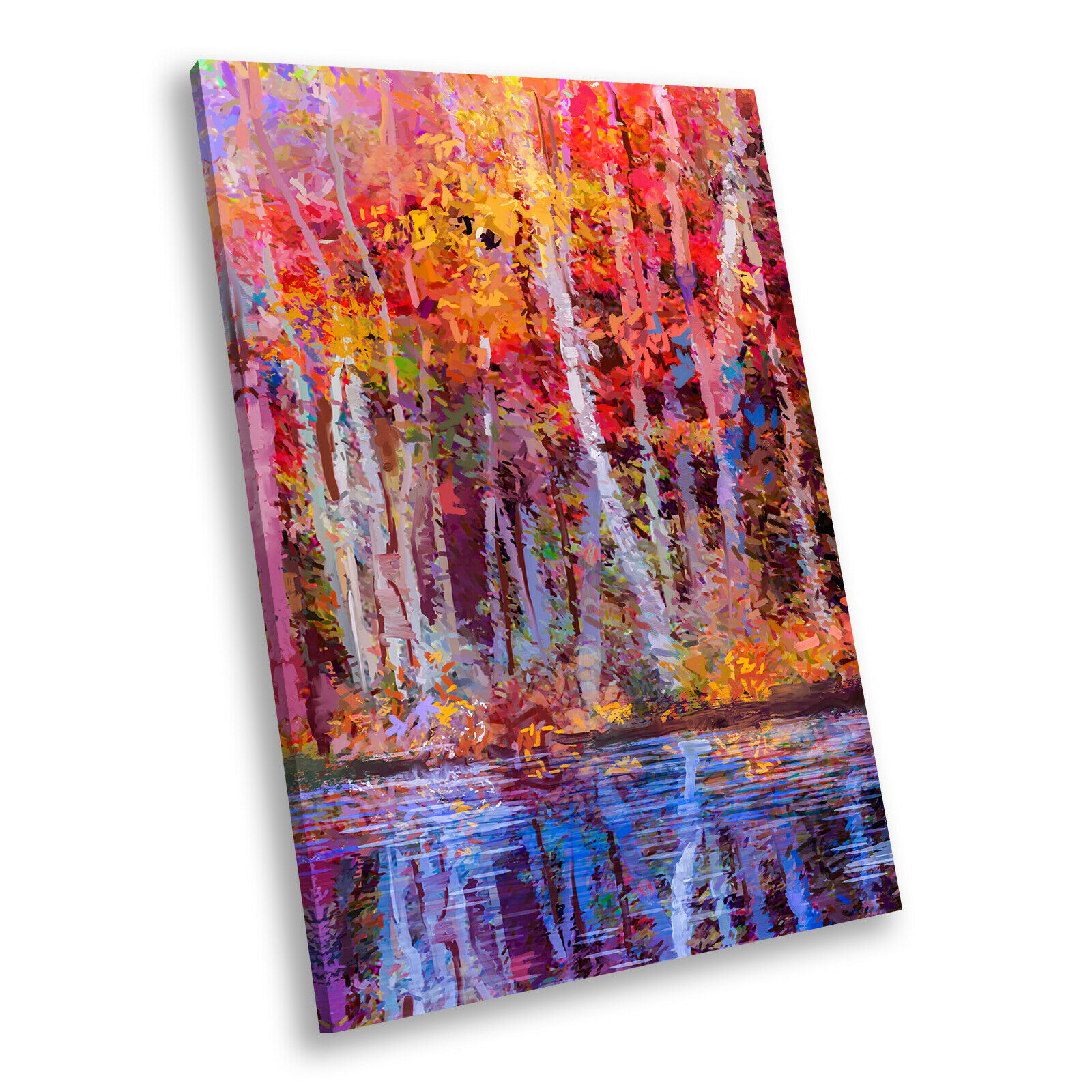 Colourful Forest Retro Cool Portrait Scenic Canvas Wall Art Large Picture Prints