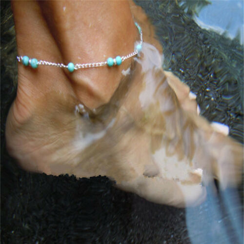 Blaue Nachahmung Türkis Perlen Silber Ankle Beach Armband Fußkettchen Fußke FBB