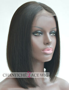 6A Short Bob Human Hair Lace Front Wigs Brazilian Remy Straight Black Women 12""