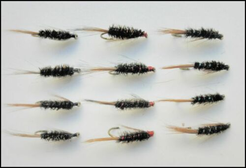 Diawl Bach Trout flies 12//14 12 Pack Diawl Bach Nymph Pearl /& Natural Red
