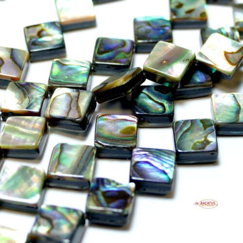 1 Strang Edelstein Bacatus #4297 Abalone Perlmutt Rechteck 8 oder 10 mm