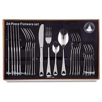 Disney Parks Mickey Mouse Silhouette 24 pc Silverware Flatware NEW Free Shipping