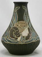 """OWENS HENRI DEUX 8"""" ART NOUVEAU VASE W/WOMAN/BLOSSOM IN OLIVE/BROWN/BLUE GLAZES"""