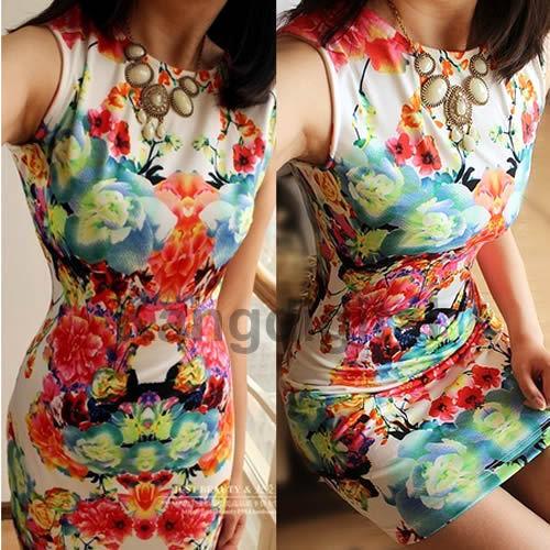 2014 Women Fashion Round Neck Sleeveless Flower Printing Retro Mini Vest Dress