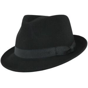 2af5c7d4 Details about Mens Gangster Black Trilby Fedora Hat 100% Wool Felt -  S.M.L,XL (UK) VGT Style