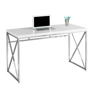 Monarch Specialties 48-Inch Modern Home Office Computer Desk, Glossy White