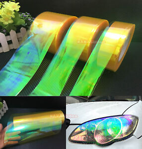 Yellow-Car-Glossy-Chameleon-Mirror-Headlight-Tail-Vinyl-Wrap-Tape-Sticker-AB