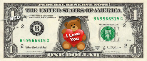 I LOVE YOU Bear Sweet Gift on REAL Dollar Bill Cash Money Collectible Novelty