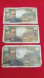 Francia-Lote-de-3-Billetes-de-5-Francos-Pastor-1968-1969-1970-REF53122