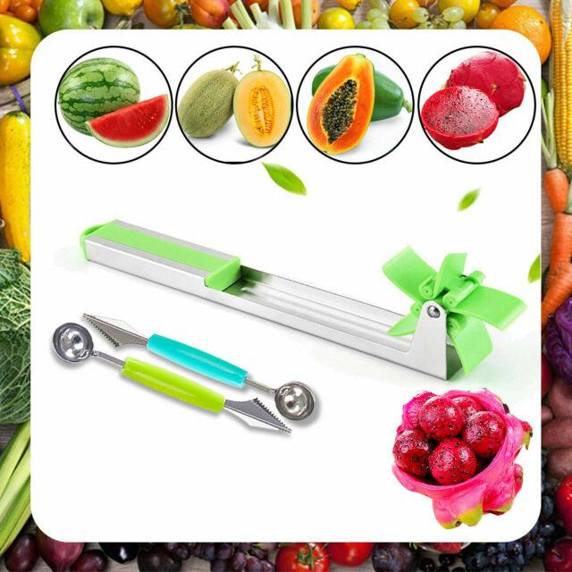Watermelon Cutter Windmill Shape Plastic Slicer Melon Tool US X2 Ball Scoop