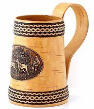 Handmade Birch Bark Beer Stein Wooden Mug Cup for Water Milk Juice 23 OZ (0.7 L)