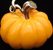 FALL AUTUMN ORANGE HALLOWEEN THANKSGIVING PUMPKIN PIN BROOCH PENDANT JEWELRY 3D