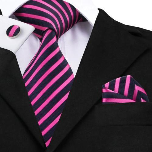 100/% Pure Silk Neck Tie Cuff-links /& Handkerchief Set Black /& Pink Stripes