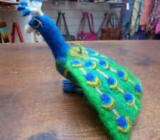 Felt Blue Peacock Bird Christmas Hanging Decoration Ethical Fair Trade Home Gift