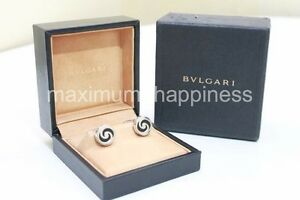 BVLGARI-BULGARI-OPTICAL-STERLING-SILVER-ONYX-CUFF-LINKS-AUTHENTIC