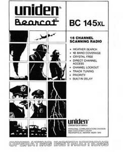 uniden bearcat bc 140 142 144xl 145xl 147x owner manual ebay rh m ebay com Uniden Bearcat Scanner Uniden Bearcat Police Scanner