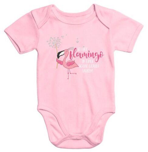 Manches courtes Bébé-Body est le Flamingo dans une bande grise pigeons Flamingo
