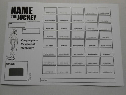 NAME THE JOCKEY SCRATCH CARDS 40 SPACES pack of 5 EASY WAY TO RAISE £100 B/&W
