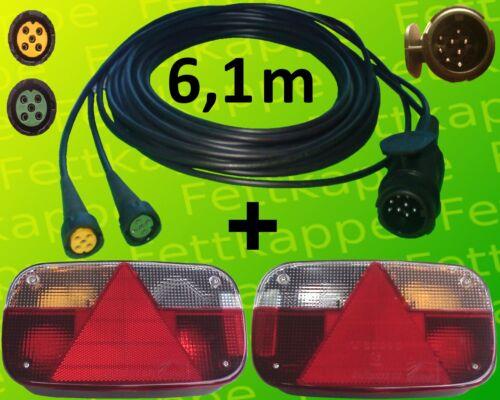 Anhängerbeleuchtung Aspöck Multipoint 3 Leuchten Set 13polig 6,1m Kabelbaum