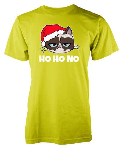 ho ho no cat grumpy Christmas Adult T Shirt White Text