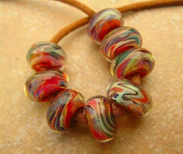 5FISH ~ Handmade Lampwork Borosilicate Glass Set Spacer Beads ~ CoLoR FesT