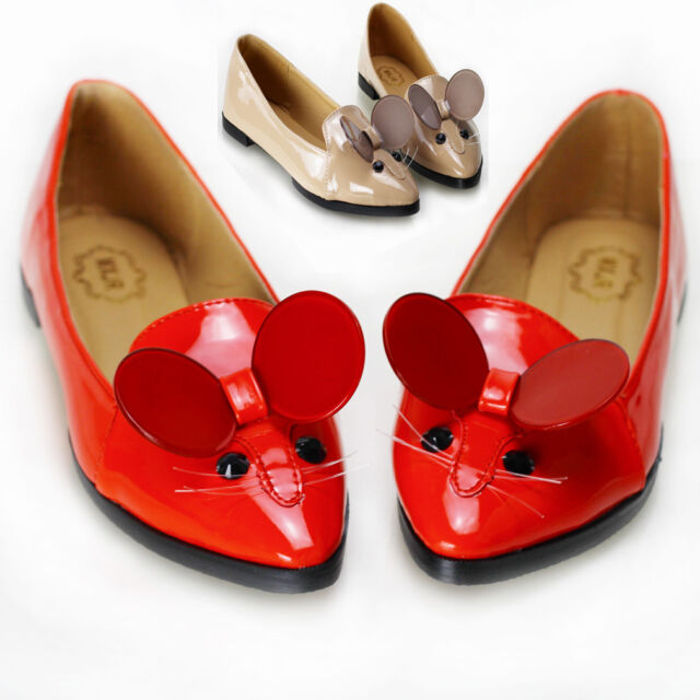 New Ladies Womens Cute Pet Mouse Patent Comfortable Flats Casual Heels Shoes