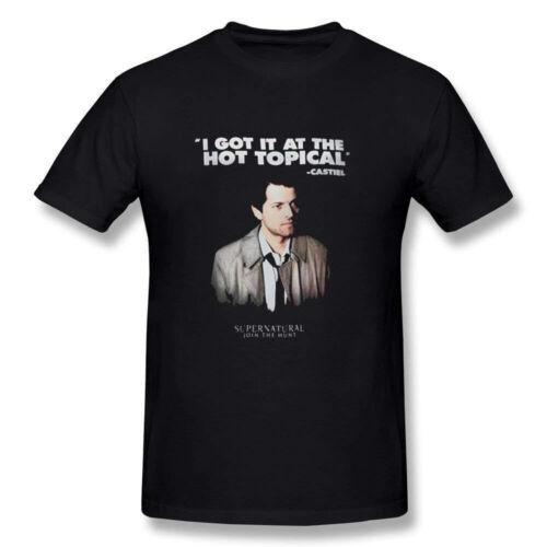 Supernatural Castiel Hot Topique Men/'s Casual à manches courtes T-Shirt Noir