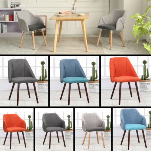 Upholstered Armchair Dining Chair Linen Fabric Patchwork Accent Chairs Tub Chair