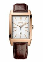 NEW HUGO BOSS 1513075 MENS LEATHER ROSE GOLD WATCH - 2 YEAR WARRANTY