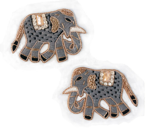 "Duo of Grey Indian Elephants Sewing Appliques. 2 Sparkling Patches. 2.25""x3"" DYI"