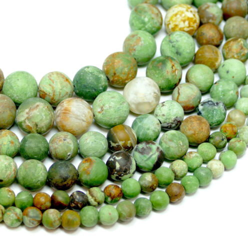 Opal Perlen grün braun matt 4-12 mm 1 Strang BACATUS Edelsteine #4250