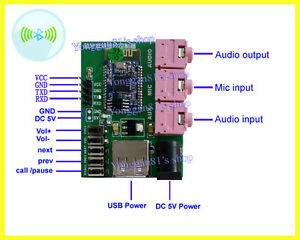 Wireless Bluetooth Audio Receiver Board Aux Mic Stereo