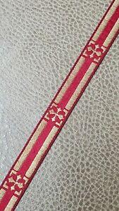 Vintage-Casula-Croce-Orlo-Galloon-Metallico-Color-Oro-su-Rosso-1-3cm-Ampio-4-6m