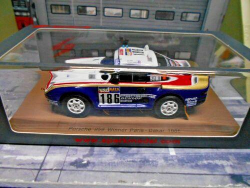Porsche 911 959 4x4 raid dakar 1986 #186 Metge Rothm a winner Spark resin 1:43